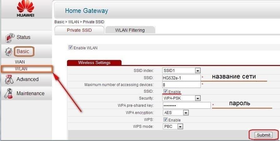 wifi на Huawei HG532e